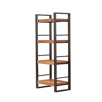 Bibliothèque 4 étagères design style industriel en métal et bois d ...