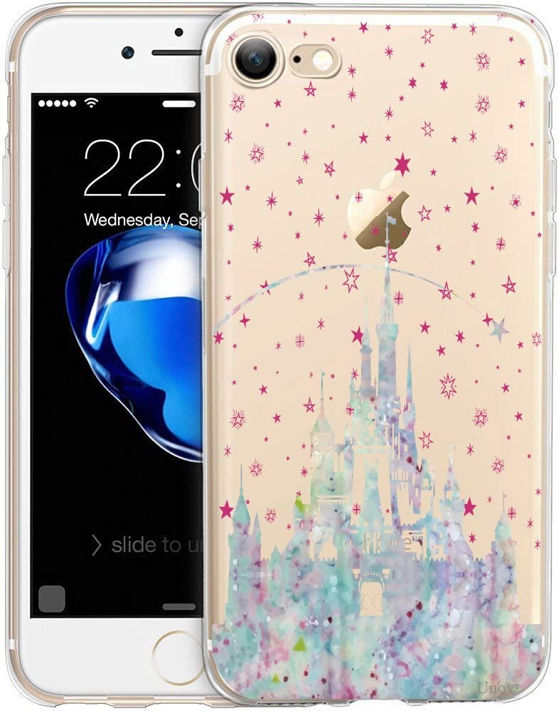 Unov Case for iPhone SE (2020) iPhone 8 iPhone 7 Clear with Design Embossed Pattern TPU Soft Bumper Shock Absorption Slim Protective Back Cover 4.7 Inch (Watercolor Castle)
