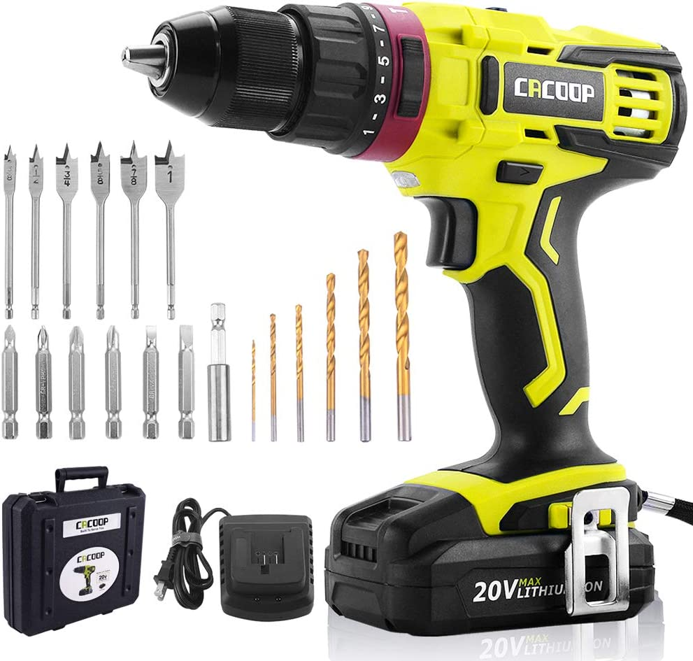 CACOOP 20V Electric Cordless Hammer Drill With 2000mA Lithium-Ion Battery, 2-Speed, All-Metal Chuck, Included 1 rapid charger,12 wood drill bits,6 screwdriver Bits 1 Magnetic Bit Holder