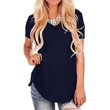 ec0f174c005 2018 Women's Blouse Loose Short Sleeve V-Neck Casual Tee T-Shirt Tops (