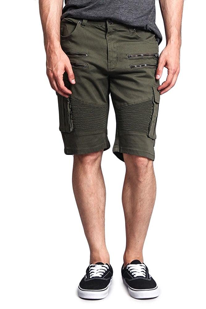 Victorious G-Style USA Men's Cargo Pocket Ribbed Distressed Biker Moto Style Shorts