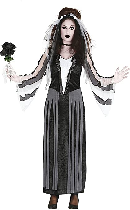 Traje de Novia de viuda negra para disfraces de Halloween: Amazon ...
