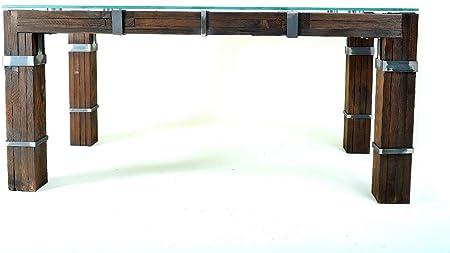 CHYRKA® Drophobycz Loft Vintage Bar Industrial Design - Mesa de Comedor, Hecha a Mano, Madera, Cristal y Metal: Amazon.es: Juguetes y juegos