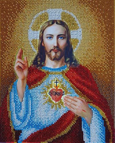 (Sacred Heart of Jesus Beaded Embroidery kit Religion icon Needlepoint Handcraft Kits Needlework DIY Religious Gift idea Beaded Cross Stitch)