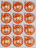 12 orange Weihnachtskugeln (handgemachtes Glas)