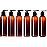 Newday Bottles, Plastic Bottle 6 Oz Amber Cosmo Round PET BPA-Free with Black Lock Down Lotion Pump, Pack of 6