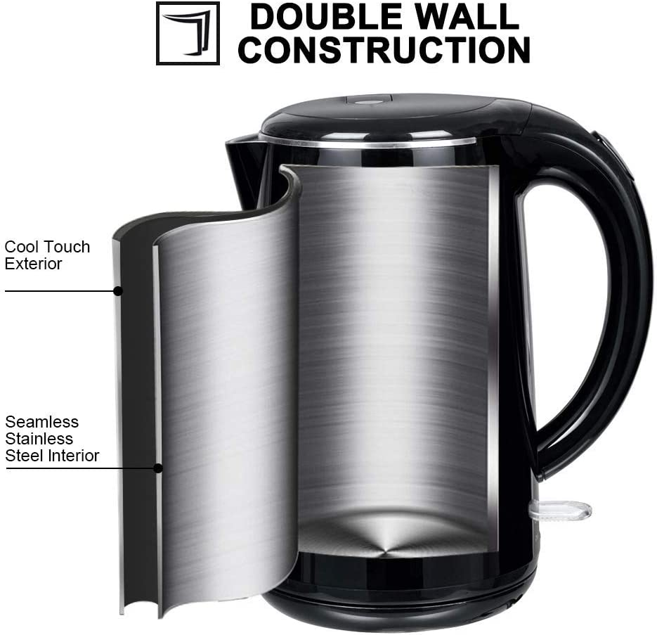 Black Onyx Secura SWK-1701DB The Original Stainless Steel Double Wall Electric Water Kettle 1.8 Quart