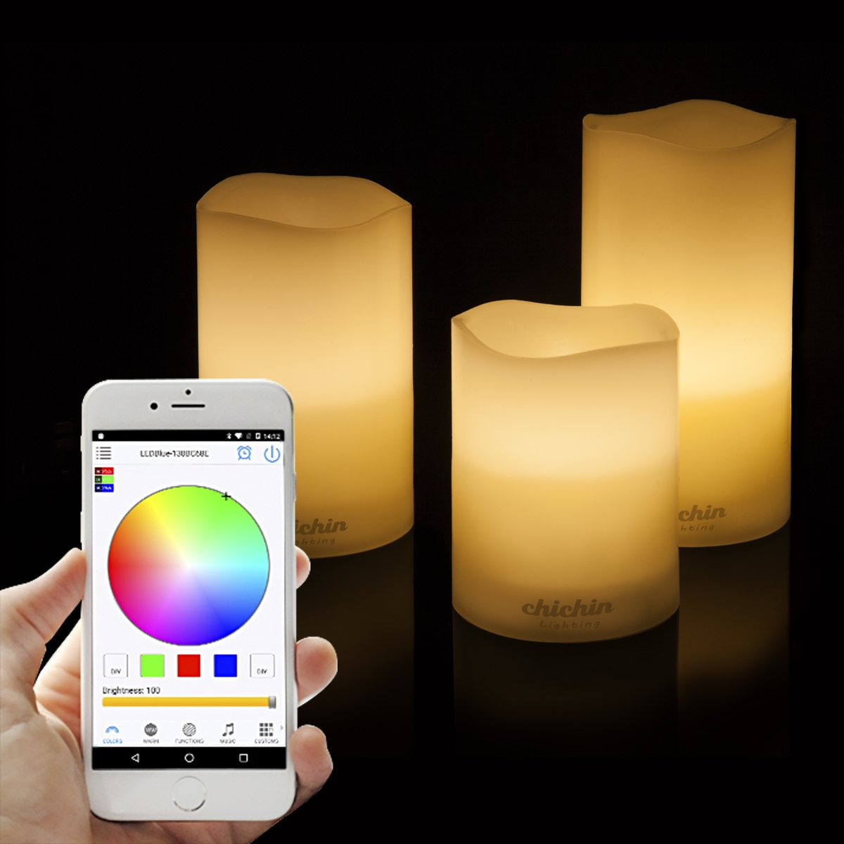 Bluetooth FLameless LED Candles RGB Cellphone APP Controlled REAL Wax LED  Pillar Candle Tealight SET Of 3, Battery Powered LED Candles, Centerpieces,  ...