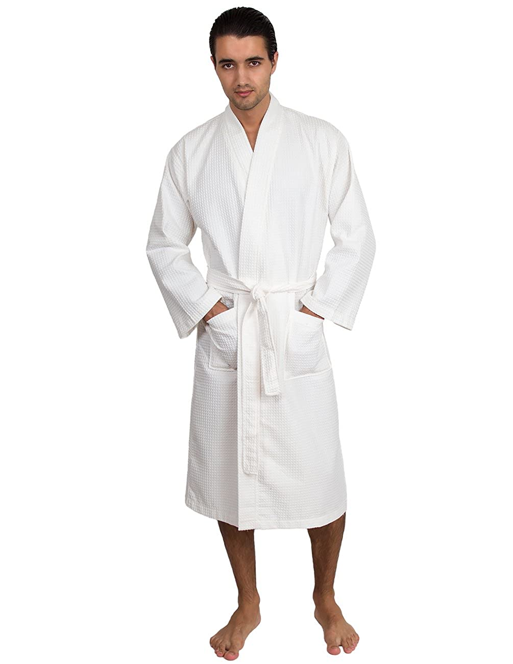 77c63e3969 Amazon.com  TowelSelections Waffle Weave Bathrobe Kimono Collar Spa Robe  Made in Turkey  Clothing