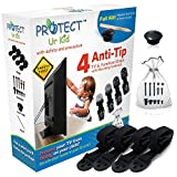 Anti Tip Furniture Anchor & TV Straps, [Full Kit] w/ Ultra-Strong Mounting Hardware & Safety Stud Finder Locks-In Heavy Objects for Instant Earthquake, Child & Baby Proofing (4 Pack) By Protect Ur Kid