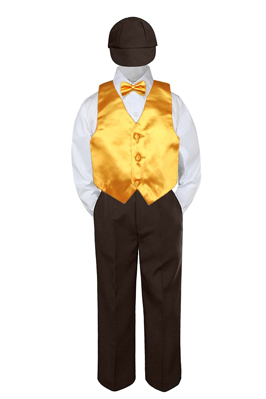 Leadertux 5pc Baby Toddler Kid Boy Wedding Suit Brown Pants Shirt Vest Bow tie Hat Set 5-7