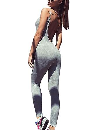 Carolilly Femme Salopette de Sport Dos Nus Yoga Jogging Fitness Gym Pilates  Noir Gris Vert Foncé c5344b2b3a26