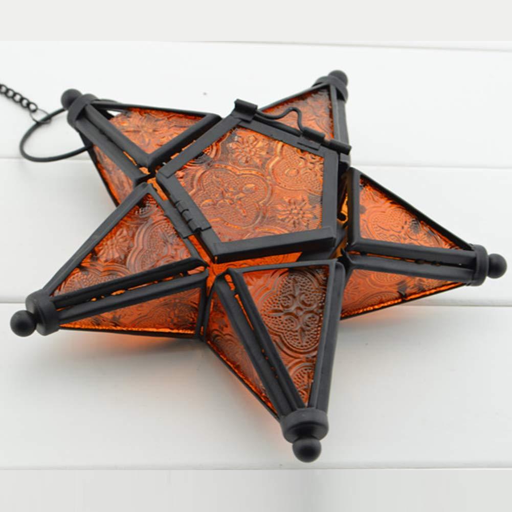 Portavelas de cristal con forma de estrella de cristal, diseñ o marroquí , colorido portavelas, interior y exterior, bandeja para velas, naranja diseño marroquí HOMYY