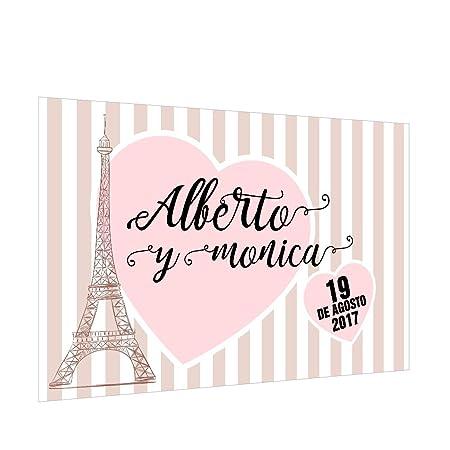 Photocall París Personalizado | Decoración de boda | Material Lona con Velcro para fácil colocación (250x170cm)