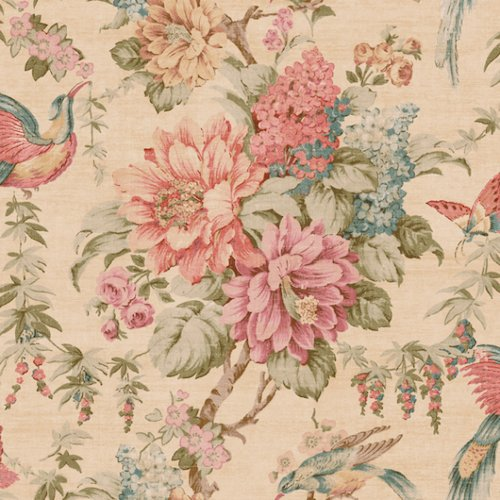 Green Floral Vine Wallpaper - Wallpaper Pink Coral Green Brown Teal Tan Blue Floral Vine & Birds Butterflies on Beige