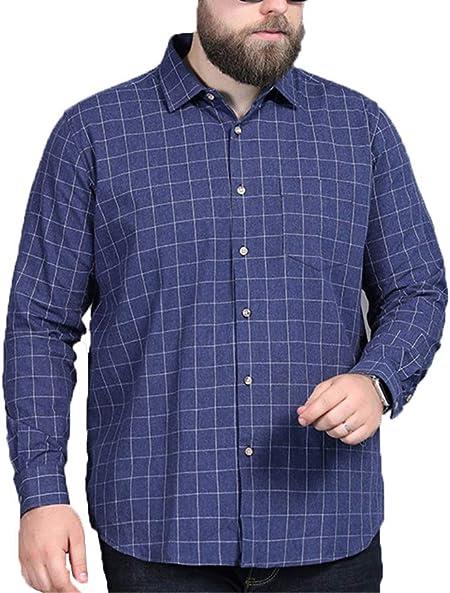 NINEONE Camisa a Cuadros de Manga Larga para Hombre Tops gordos Edad Media 100% algodón Camisa de Solapa Extra Grande L-7XL 5XL: Amazon.es: Hogar