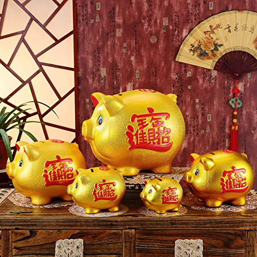 11'' Gold Pig Lucky Porcelain Fortune Pig Money Box Piggy Bank by FANCY PUMPKIN (Image #2)