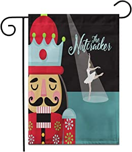 """Adowyee 28""""x 40"""" Garden Flag Colorful Christmas Nutcracker Cartoon Wooden Soldier Toy from The Outdoor Double Sided Decorative House Yard Flags"""