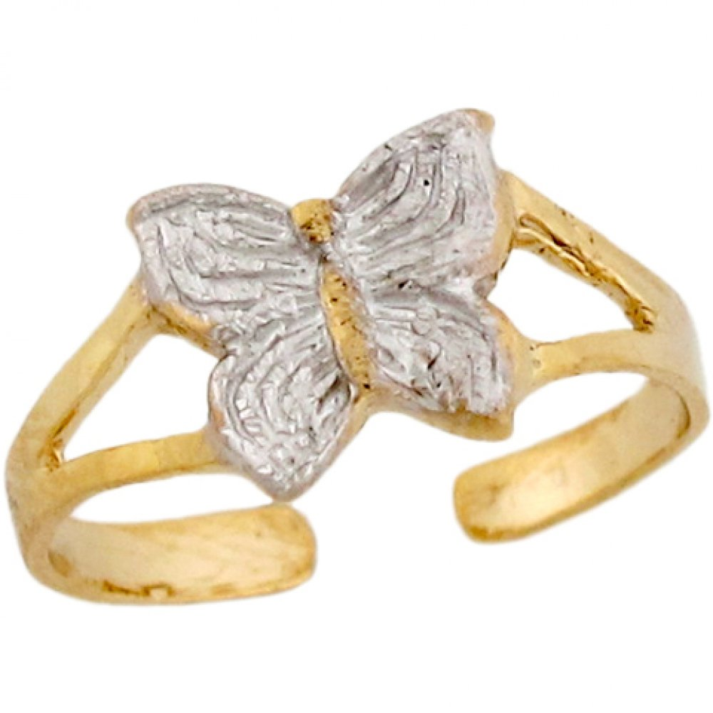 Two-Toned Real 14k Gold Cute Sparkle Butterfly Ladies Toe Ring