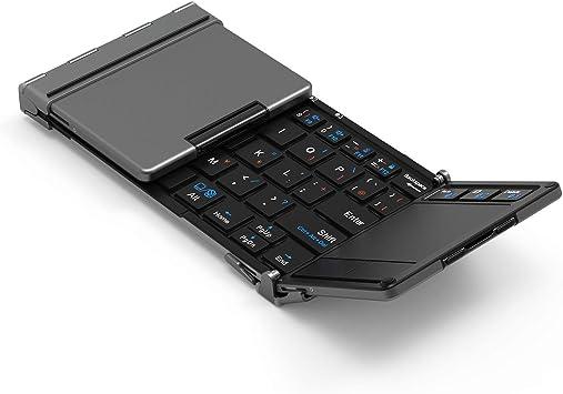 キーボード 折りたたみ式 [タッチパッド搭載] usb 3つデバイス同時切替可能 ミニ ワイヤレス コンパクト アルミ