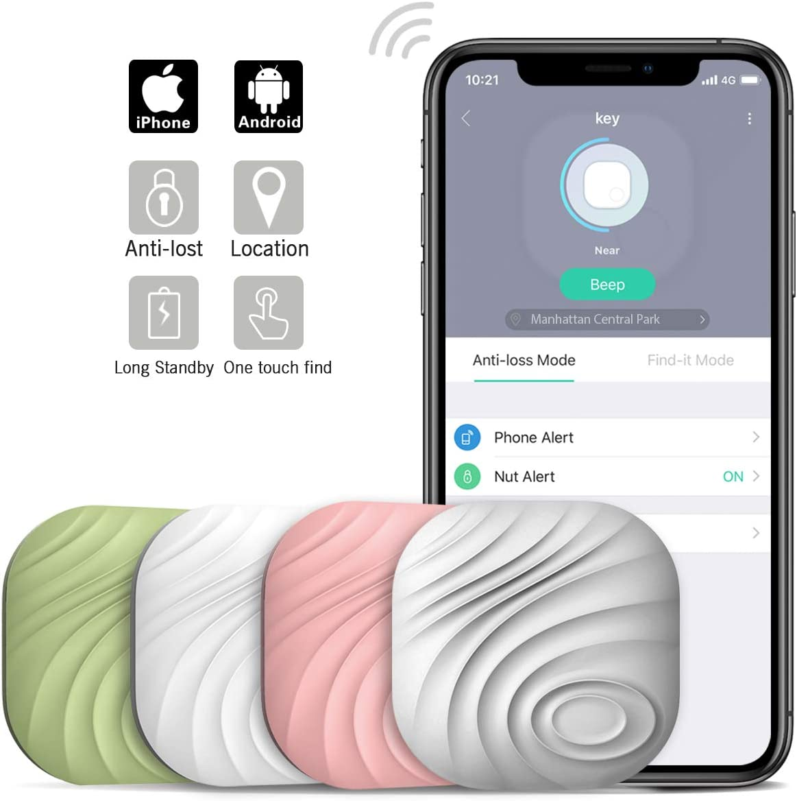 Nut3 Key Finder Locator (Pack of 4) – Smart Bluetooth Item Tracker & Finder Device for Wallet, Phone, Pets, Dogs, Cats - Anti-Lost Bidirectional Alarm Reminder - Replaceable Battery - Multicolor
