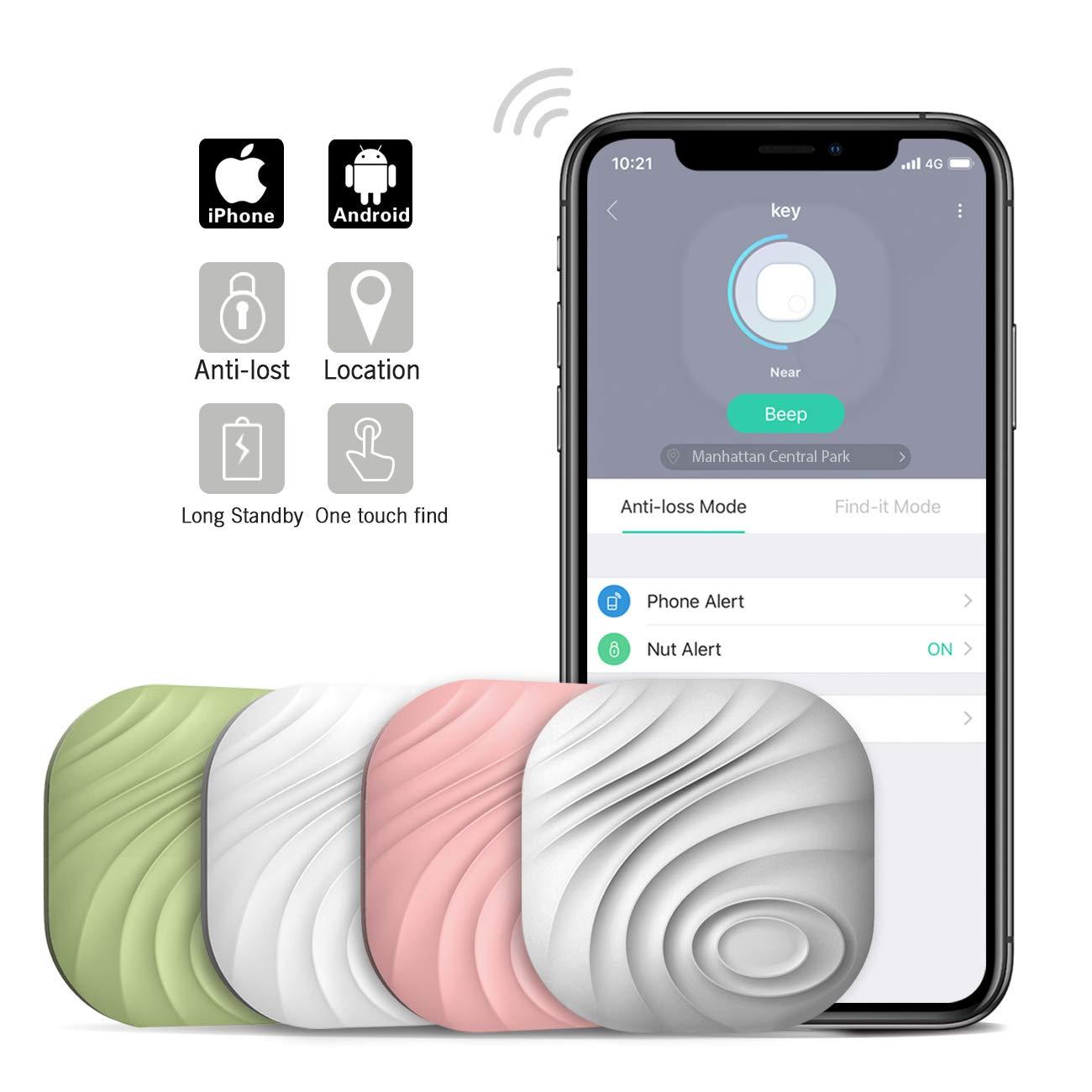 Nut3 Smart Key Finder Bluetooth WiFi Tracker GPS Locator Wallet Phone Key Anti-Lost Bidirectional Alarm Reminder (4 Packs, Multicolor) by Nutale
