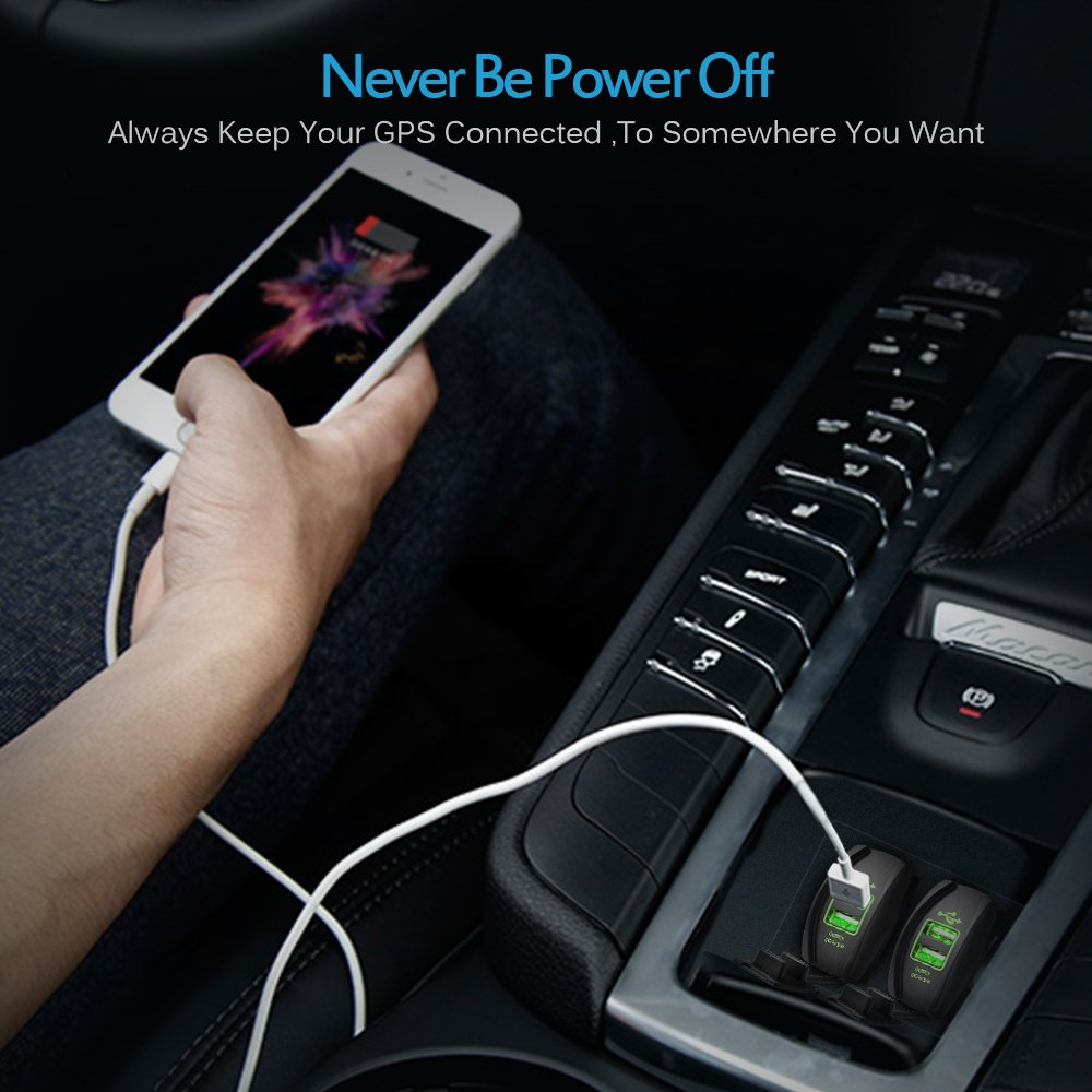 with Blue LED Light Dual USB Power Socket for Rocker Switch Panel m0012 MICTUNING Universal Rocker Style Car USB Charger