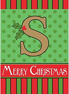 Magnolia Garden S Monogram Festive Red Green 18 x 13 Polyester Burlap Christmas Outdoor Flag