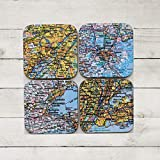Personalized Map Coasters Set State Map Coasters Custom Map Coasters Housewarming Gift New Home Gift First Home Wedding Map Gift