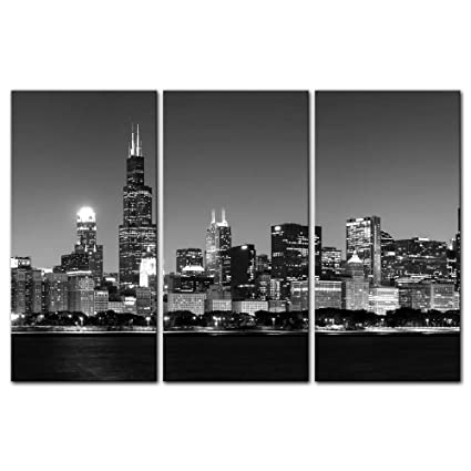 3 pieces modern canvas painting wall art the picture for home decoration panoramic view of chicago