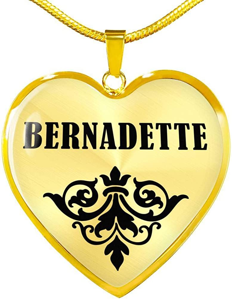 Bernadette v01-18k Gold Finished Heart Pendant Luxury Necklace Personalized Name Gifts