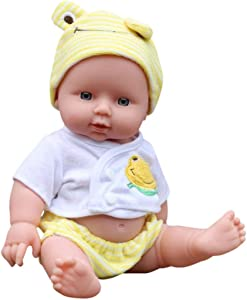 Anytec 12 inch DIY Newborn Baby Dolls Soft Realistic Full Body Reborn Blink Doll for Toddler Boys Girls Birthday Gifts or Clinical Education (Baby Yellow)