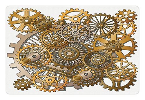 Ambesonne Clock Pet Mat for Food and Water, The Gears in The Style of Steampunk Mechanical Design Engineering Theme Print, Rectangle Non-Slip Rubber Mat for Dogs and Cats, Gold and Brown