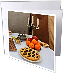 3dRose Greeting Card Fresh pie, apples, pomegranate, oranges and a triple candlestick - 6 by 6-inches (gc_304788_5)