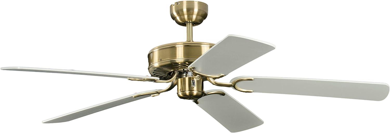 Potkuri Ventilador de techo sin Luz, Palas reversibles Blanco ...
