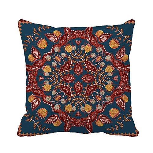 Awowee Throw Pillow Cover Artsy Ornamental Pattern Strawberry and Leaves Scarf Blue Brown 16x16 Inches Pillowcase Home Decorative Square Pillow Case Cushion Cover ()