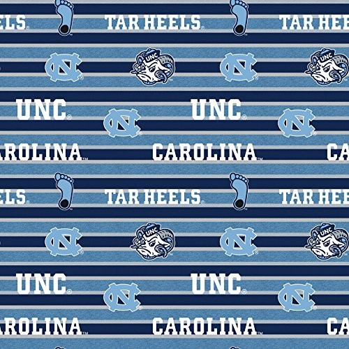 UNIVERSITY OF NORTH CAROLINA FLEECE BLANKET FABRIC-UNC TARHEELS FLEECE FABRIC WITH AWESOME POLO STRIPE=SOLD BY THE YARD