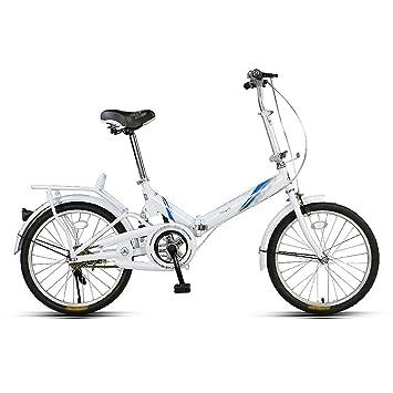 Bicicleta plegable de bicicleta para adultos con mini bicicleta de 20 pulgadas (Color : Blanco