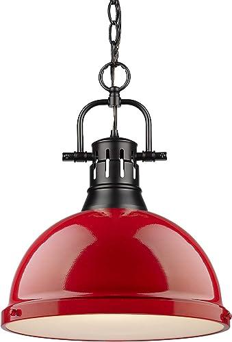 Golden Lighting 3602-L BLK-RD Duncan Pendant, Matte Black with Red Shade