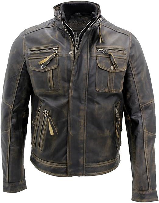 Men/'s Vera Pelle Pelle di Agnello Classic Brando Stile Biker Moto Giacca XS-5XL