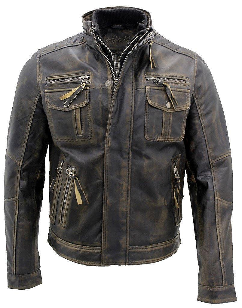 Vintage Leather Jacket >> Men S Black Warm Vintage Brando Leather Biker Jacket At Amazon Men S