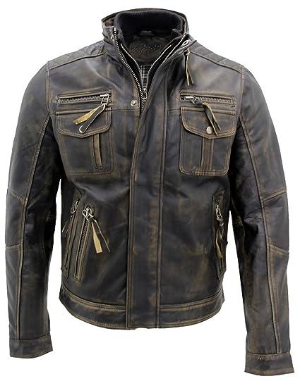 new arrival 659c2 489c8 Nero caldo Brando giubbotto da motociclista in pelle da uomo