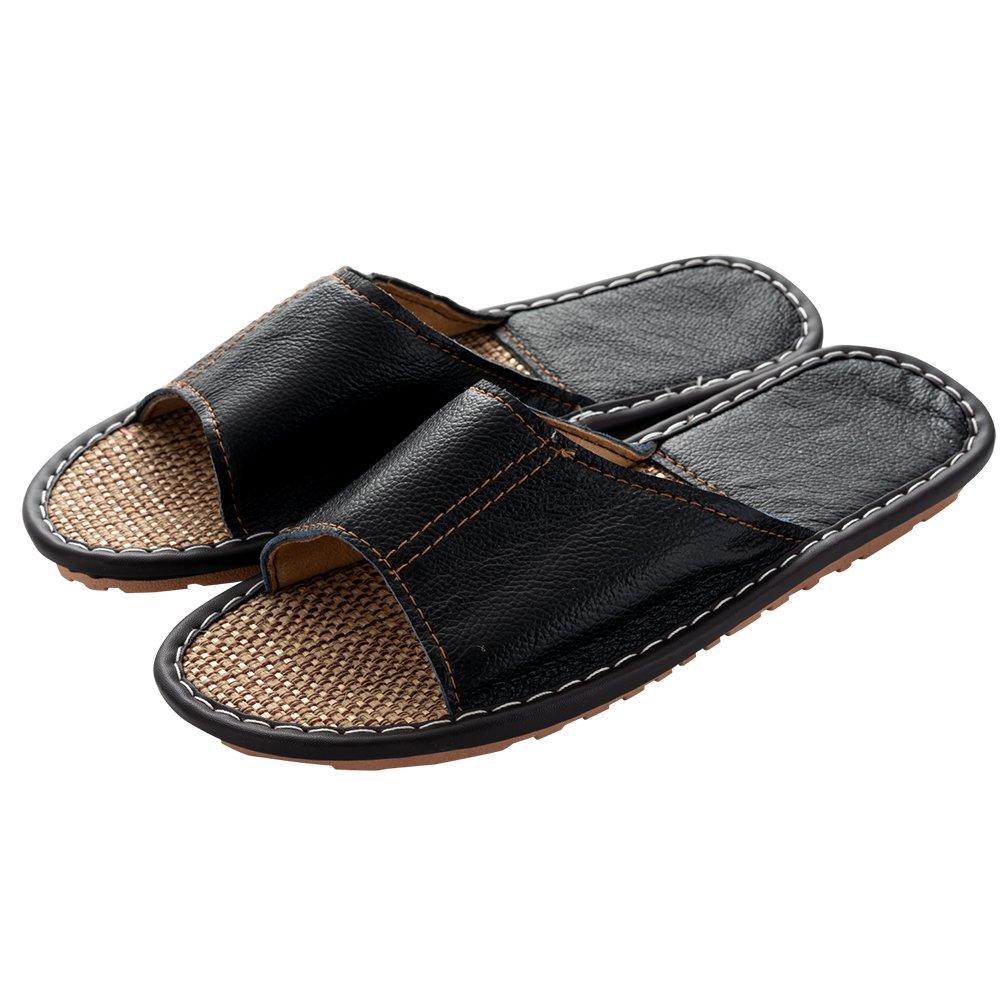 Mens Slipper Indoor Open Toe Slip On Slippers Non-Slip Leather Sandals