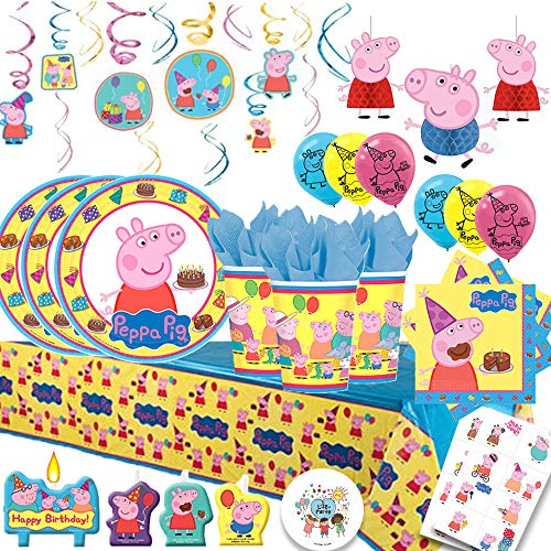 Peppa Pig MEGA Deluxe Party Pack with Decorations for 16 with Plates, Napkins, Cups, Tablecover, Candles, Swirls,Tattoos, Set of 3 Honeycomb Decorations, and 6 Balloons! -
