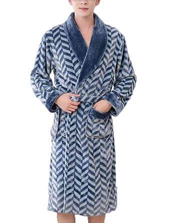 ZJEXJJ Bata de terciopelo de coral de los hombres de invierno gruesa y larga pijama (