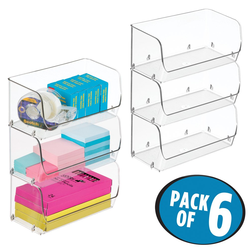 mDesign Stacking Organizer Bins for Home Office Storage to Hold Highlighters, Staples, Tape, Pens - Pack of 6, Small, Clear