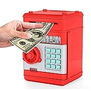 KOBWA Cartoon Electronic Piggy Bank Cash Coin Can, Mini ATM Money Saver Banks Password Kids Safe Box Great Toy Deposit Box for Kids Children, Red