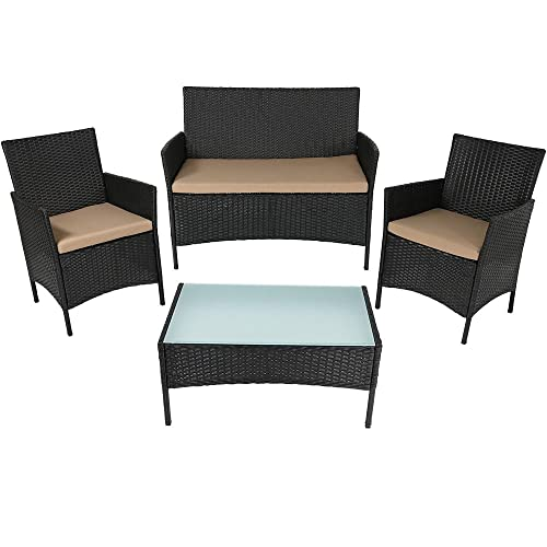 Sunnydaze Enmore Outdoor Wicker Rattan 4-Piece Lounger Patio Furniture Set with Tan Cushions