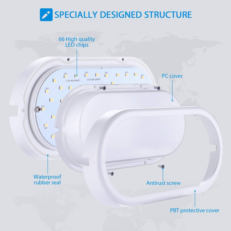 960lm IP54 impermeabile Plafoniera LED per soggiorno Sala da pranzo Camera da letto Bagno Cucina Balcone Corridoio Oeegoo 12W Ovale Lampada da Parete Lampada da soffitto LED 4000K