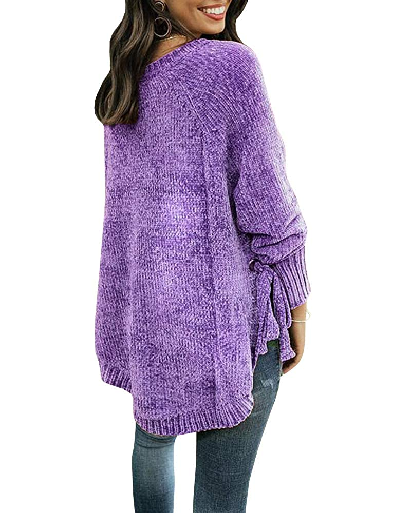 a40d54c9b7 ... Womens Pullover Sweaters Plus Size Cable Knit Crew Neck Long Sleeve  Split Side Tie Knot Fall ...